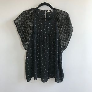 Floral Flowy Blouse with Two Sized Flowers - XL